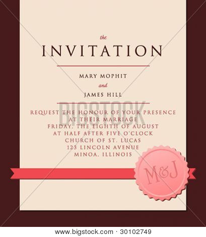 Elegant Invitation to the wedding or announcements