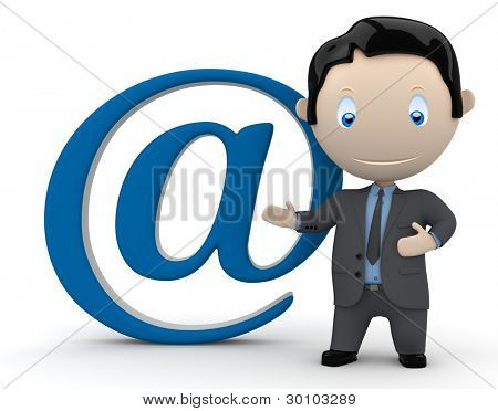 Mail me. Social 3D characters businessman in suit pointing to the email sign. New constantly growing collection of expressive unique multiuse people images. Concept for e-mail illustration. Isolated