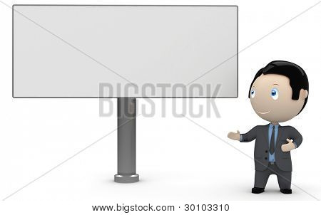 Place your text / logo / product on a blank board copyspace. Social 3D characters: businessman in suit  pointing at the blank rectangular space. New collection. Concept for multiuse illustration.