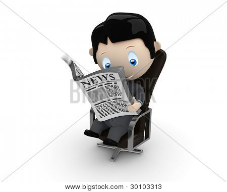 Hot news! Social 3D characters: businessman in suit reading newspaper on a leather office chair. New constantly growing collection of multiuse people images. Concept for news illustration. Isolated.