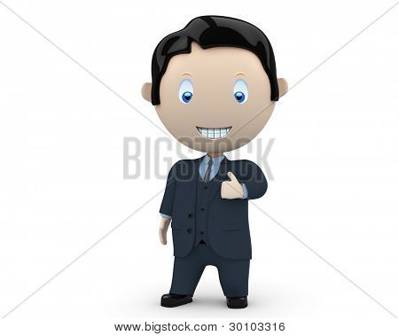 I like it! Social 3D characters: happy smiling businessman in suit showing big finger. New constantly growing collection of multiuse people images. Concept for social like illustration. Isolated.