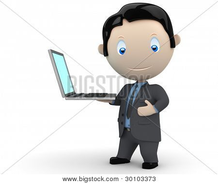 Presentation! Social 3D characters: happy smiling businessman presents notebook on his palm. New constantly growing collection of people images. Concept for computer generation illustration. Isolated.