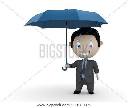 Under protection! Social 3D characters: businessman standing with umbrella. New constantly growing collection of expressive unique multiuse people images. Concept for illustration. Isolated.