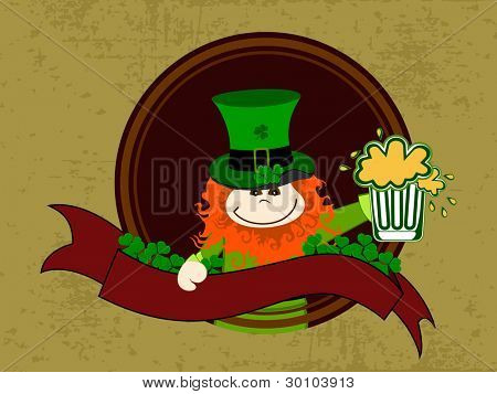 Vector illustration of a template frame with Leprechaun with beer mug  and red ribbon on grungy brown background for St. Patrick's Day.