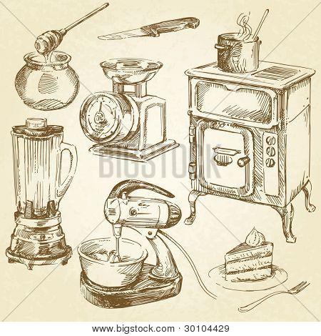 Vector y foto vintage utensilios de cocina bigstock for Utensilios de cocina vintage