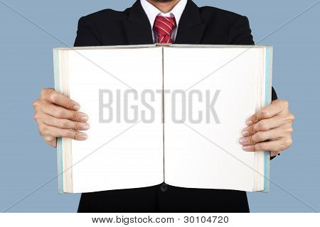 Businessman Showing Blank Book