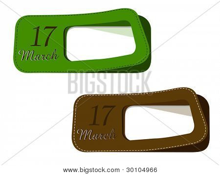 Vector illustration of new labels set in green and brown color with text  for St.Patrick's Day. isolated on white.