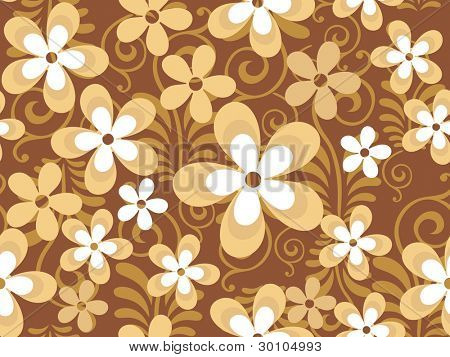 Abstract seamless pattern with beautiful floral in white and brown. vector illustration on dark brown. Please see for more similar images in my gallery.