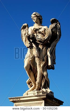 Sant Angelo Bridge, Rome, Angel with Garment & Dice