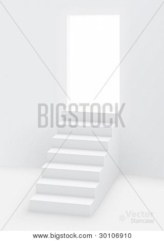 White staircase to open door. Vector illustration.