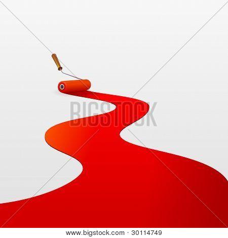 Rolo e tinta vermelha