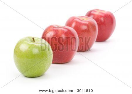 Verde manzana manzana roja
