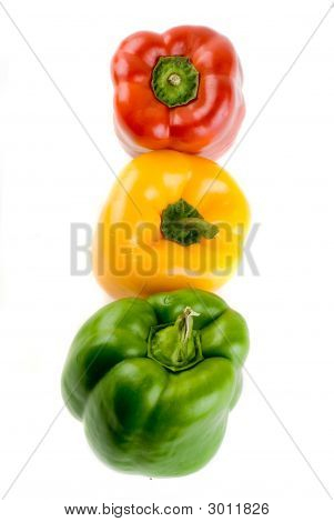 Bell Pepper Stoplight - Red, Yellow And Green Isolated On White