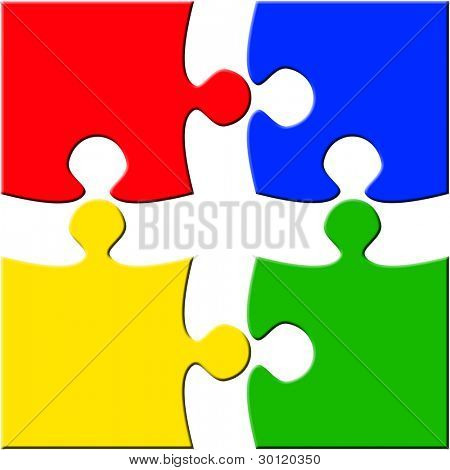 Seperated four piece puzzle over white background. Red Green Blue Yellow pieces
