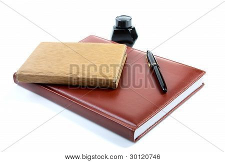 Leather Organizer A Pen And Ink Isolated On  White Background