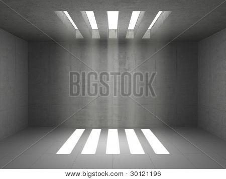 Quarto vazio armazém com paredes de concreto