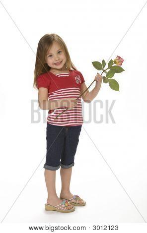 Cute Girl Holding Rose