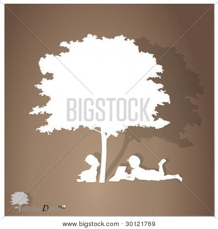 Vector background with children read a book under tree. Vector Illustration.