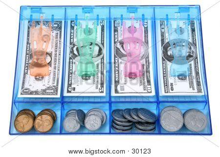 Chamar a caixa de papel de brinquedo e moeda dinheiro USD