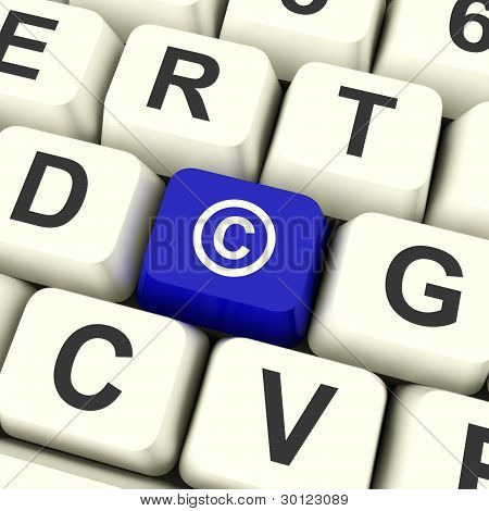 Copyright Blue Computer Key Showing Patent Or Trademark