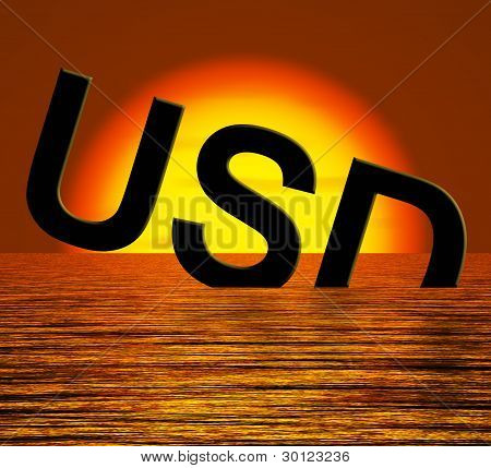 Usd Sinking And Sunset Showing Depression Recession And Economic