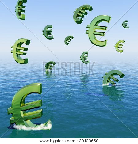 Euros Falling In The Sea Showing Depression Recession And Econom