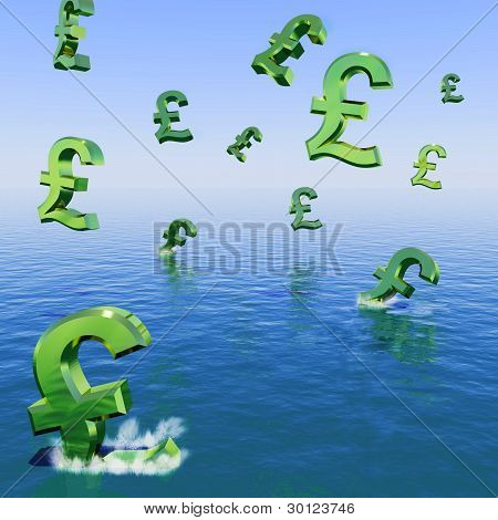Pounds Falling In The Sea Showing Depression Recession And Econo