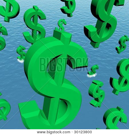 Dollar Symbols Falling In The Ocean Showing Depression Recession