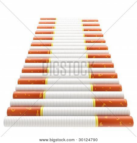 Smokers way: staircase made of cigarettes