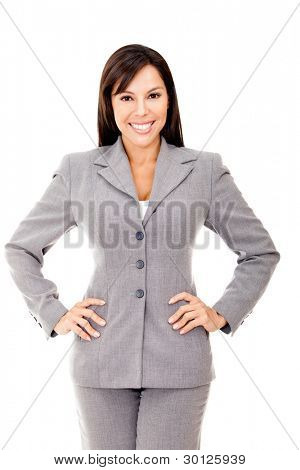 Confident businesswoman smiling - isolated over a white background