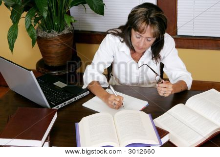 Woman Researching And Working