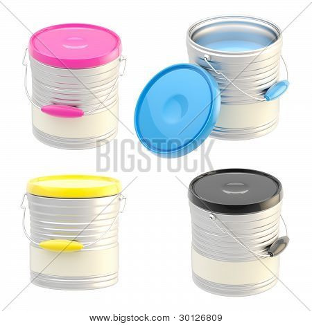 Set of four paint buckets isolated