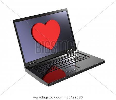 Laptop with heart on the screen isolated over white background. Computer generated 3D photo rendering.