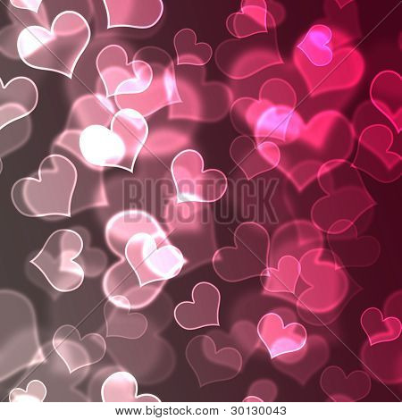 Pink & White Bokeh Hearts Background