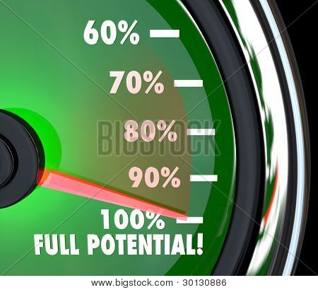 A speedometer with needle pointing to 100% Full Potential to symbolize that your maximum potential of opportunity has been reached and surpassed