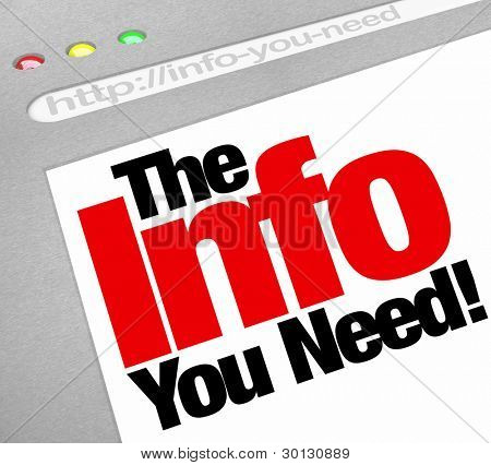 A website background in an Internet browser window with the words The Info You Need to represent research and information sharing and finding on the web