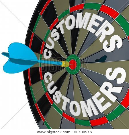 A blue dart hits a bulls-eye in the target on a dart board marked Customers to symbolize finding new buyers for your products or services