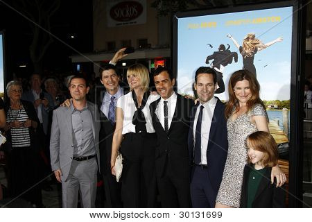 LOS ANGELES, CA - FEB 16: Joe Lo Truglio, Ken Marino, Kerri Kenney, Justin Theroux, Paul Rudd, Kathryn Hahn, Ian Patrick at the premiere of 'Wanderlust' on February 16, 2012 in Los Angeles, CA