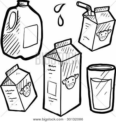 Milk and juice carton sketch