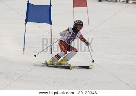 Skiing Sport On Hi Mountain Slopes