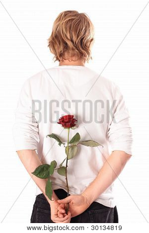 Lover with a rose