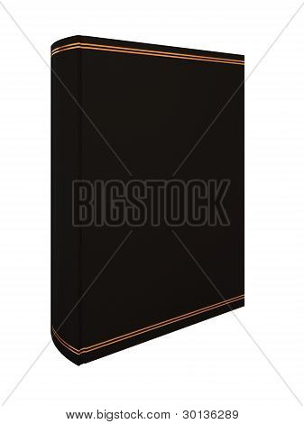 Empty black book isolated on white.