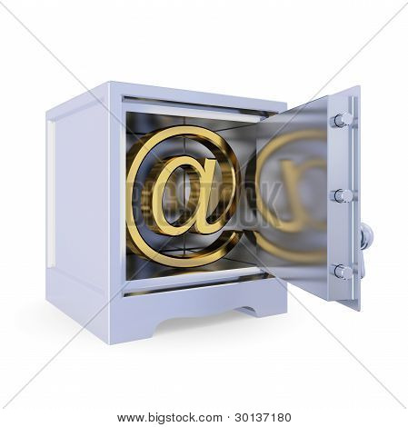 Iron safe with golden e-mail sign inside.