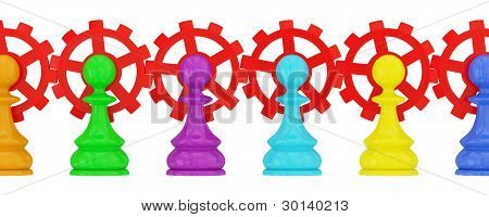 Colorful pawns pawns merged with red gears.