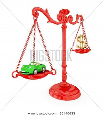 Green car and golden dollar sign on a red scales.