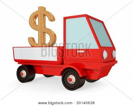 Red truck with golden dollar sign in a body.