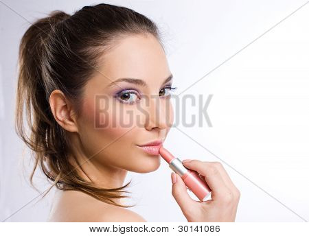 Sensual Young Woman With Pink Lipstick