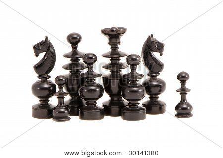 Isolated Black Retro Chessmans Group
