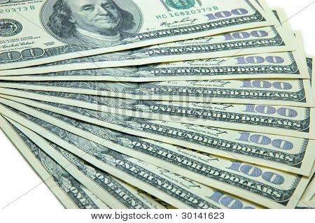 Ten banknotes of 100 dollars