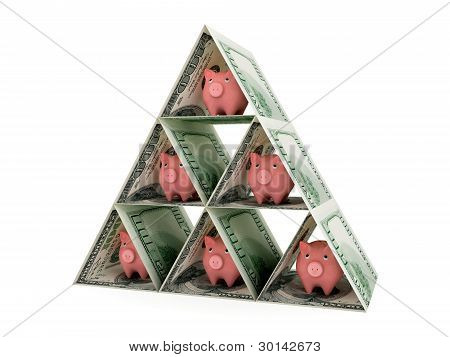 Pyramid made of dollars and pink piggy banks.